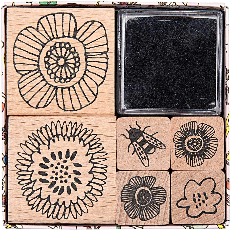 Stempel-Set BLUMEN Floral 6 Stück Holz XL Blumenstempel